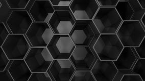Fundo preto do hexágono 3d rendem ilustração do vetor