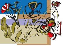Fundo preto do quadrado do esboço das flores ilustração do vetor