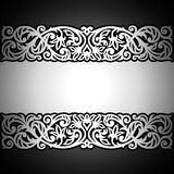 Fundo preto do vintage, antiguidade, ornamento de prata do victorian Fotografia de Stock Royalty Free
