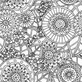 Fundo preto e branco da garatuja floral sem emenda Fotos de Stock Royalty Free