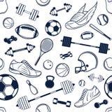 Fundo preto e branco do equipamento de esporte do vetor, sem emenda, teste padrão, ícones Fotografia de Stock Royalty Free