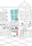 fundo preto e branco do estilo dos desenhos animados da cozinha - ilustração Fotografia de Stock Royalty Free