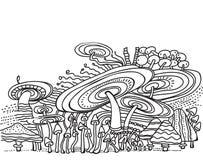 Fundo preto e branco do teste padrão com cogumelos Ilustração Stock