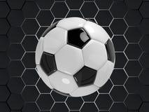 Fundo preto e branco do vetor do futebol do futebol com a bola no estilo 3d Foto de Stock