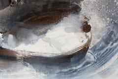 Fundo preto e branco pintado à mão abstrato, pintura acrílica na lona, papel de parede, textura foto de stock