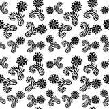 Fundo preto e branco sem emenda do teste padrão de flor do vetor fotos de stock