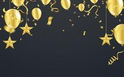 Fundo preto luxuoso do Natal com estrelas douradas, flocos de neve ilustração do vetor