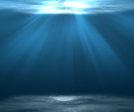 Fundo profundo ou subaquático do mar da cena com luz solar Fotografia de Stock Royalty Free