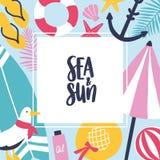 Fundo quadrado colorido com atributos do verão e lugar para o texto no centro Quadro decorado com guarda-chuva de praia ilustração stock