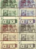 Fundo quadriculado dos dólares do Euro do vintage retro Fotografia de Stock Royalty Free