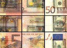 Fundo quadriculado dos dólares do Euro do vintage retro Foto de Stock