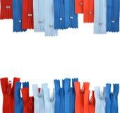 Fundo que consiste em zippers para a roupa Imagens de Stock Royalty Free