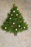 Fundo rústico da árvore de Natal do cedro Imagens de Stock Royalty Free