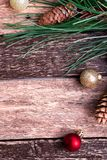 Fundo rústico da composição do ano novo do Feliz Natal Configuração lisa Fotografia de Stock