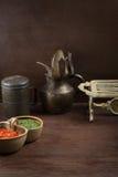 Fundo rústico velho do alimento com pão e molho Fotografia de Stock Royalty Free