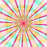 Fundo radial abstrato da explosão do sol Luz colorida do estilo retro dissipada atrás Ilustração do vetor Eps 10 Fotos de Stock
