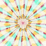 Fundo radial abstrato da explosão do sol Luz colorida do estilo retro dissipada atrás Ilustração do vetor Eps 10 Imagens de Stock