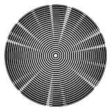 Fundo radial da tecnologia dos círculos centrados do preto ilustração do vetor
