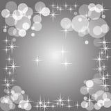 Fundo radial do inclinação do Grayscale com bokeh e estrelas de tamanhos diferentes Foto de Stock Royalty Free