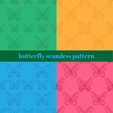 Fundo realístico de borboletas coloridas Os insetos de voo do verão ajustaram-se para cartões e o teste padrão sem emenda do álbu Fotos de Stock Royalty Free