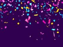 Fundo realístico de incandescência amarelo azul ciano cor-de-rosa do vetor do voo dos confetes do feriado ilustração royalty free