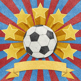 Fundo recicl do papercraft da estrela de futebol Fotos de Stock Royalty Free