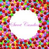 Fundo redondo com os vários doces doces no quadro Fotografia de Stock Royalty Free