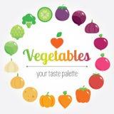 Fundo redondo dos vegetais do arco-íris colorido com lugar para o logotipo ou o texto Imagem de Stock Royalty Free