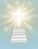 Fundo religioso com cruz branca Imagens de Stock