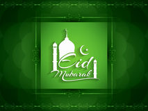 Fundo religioso com projeto bonito do texto de Eid Mubarak Imagens de Stock Royalty Free