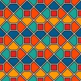 Fundo repetido do sumário do mosaico do vitral dos octógonos Papel de parede vívido dos azulejos Teste padrão de superfície sem e ilustração stock