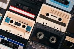 Fundo retro da coleção das cassetes de banda magnética Fotografia de Stock Royalty Free