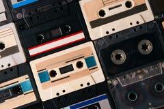 Fundo retro da coleção das cassetes de banda magnética Imagem de Stock Royalty Free