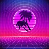 fundo retro da ficção científica 80s com palmas Vector o estilo retro dos cartazes da ilustração em 1980 s da onda do synth futur ilustração royalty free