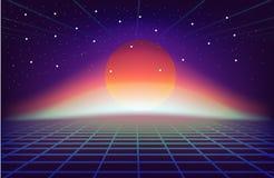 fundo retro da ficção científica 80s com sol estilo retro dos cartazes da ilustração em 1980 s da onda do synth futurista ilustração do vetor