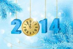 Fundo retro do feriado com sagacidade azul da fita do presente Imagens de Stock Royalty Free