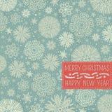 Fundo retro do Natal com flocos de neve e laboratório Imagens de Stock Royalty Free