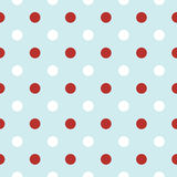 Fundo retro do Natal com os às bolinhas no vermelho  Imagens de Stock Royalty Free