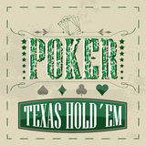 Fundo retro do pôquer do holdem de Texas para o projeto do vintage Fotos de Stock Royalty Free