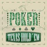 Fundo retro do pôquer do holdem de Texas para o projeto do vintage Fotos de Stock Royalty Free