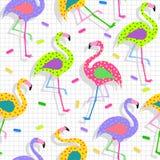 Fundo retro do teste padrão do flamingo 80s ilustração stock