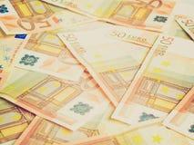 Fundo retro dos bankonotes do Euro do olhar Fotografia de Stock