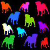 Fundo retro sem emenda do teste padrão do cão do Pug Fotos de Stock Royalty Free