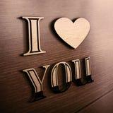 Fundo romântico com eu te amo texto Fotografia de Stock Royalty Free