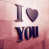 Fundo romântico com eu te amo texto Imagens de Stock Royalty Free