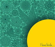 Fundo romântico com flores, pássaros e joaninha Imagens de Stock Royalty Free