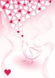 Fundo romântico com pássaro Fotos de Stock Royalty Free