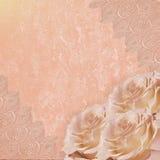 Fundo romântico cor-de-rosa do vintage com rosas e laço Fotografia de Stock Royalty Free