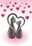 Fundo romântico com gatos Fotografia de Stock Royalty Free