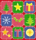 Fundo rústico 2 do Quilt do Natal Fotografia de Stock Royalty Free